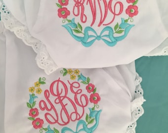 Monogrammed Bloomers,monogrammed diaper cover, personalized baby gift- Flower Wreath with bow