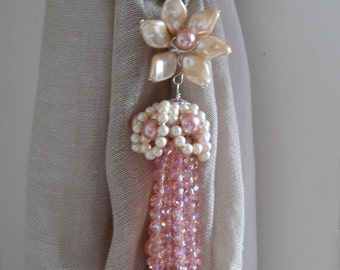 Pink decorative curtain tiebacks faux pearls, pink glass crystals flowers tassels drapery holders - tie backs curtain
