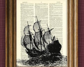 GALLEON Ship at sea illustration beautifully upcycled dictionary page book art print