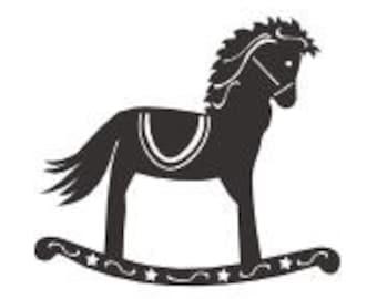 SVG Rocking horse sillhouette card topper embellishment