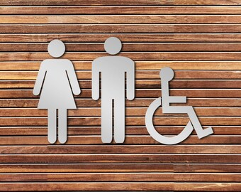 Laser Cut Bathroom Signs (Men's Women's Accessible)