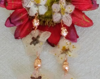 Long pendant earrings with three real peach blossoms, dried and laminated