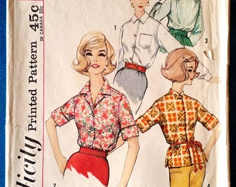 """Vintage 1960's shirt sewing pattern - Simplicity 4056 - size 14 (34"""" bust)"""