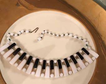 Vintage 50's  Art Deco Piano Keys Necklace