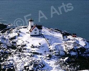 Nubble Light York Maine Winter Aerial Maine Panoramic Photography Maine Art Print by Maine Photographer Paul Vose US MADE