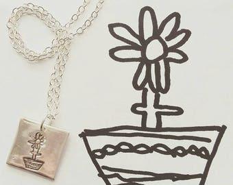 Keepsake, personalised, custom child drawing or writing necklace