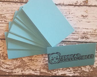 50 DIY Lunar Blue Business Card Blanks for stamping