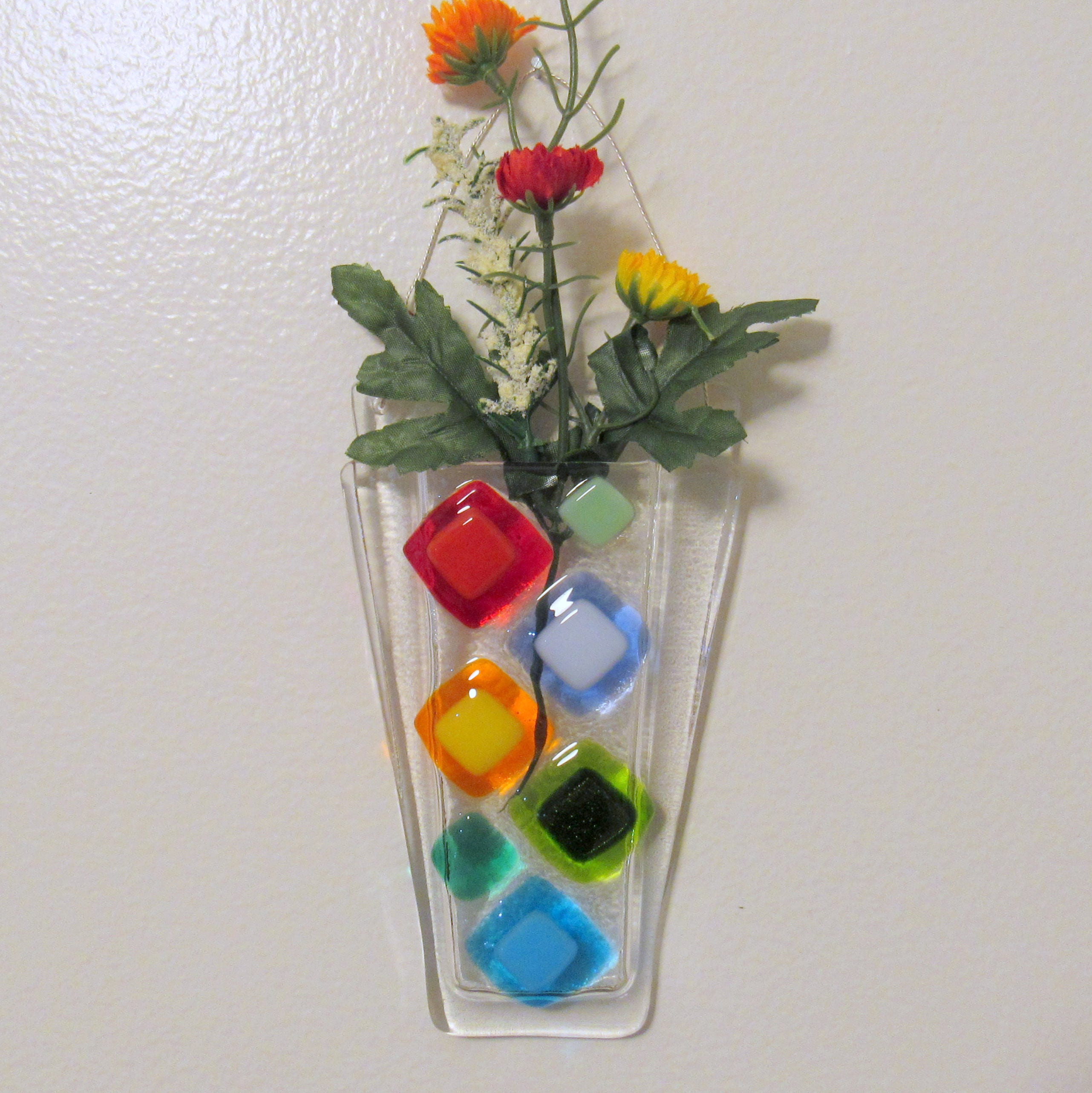 Fused glass wall vase fused glass flower vase wall hanging zoom reviewsmspy