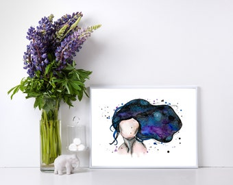 Galaxy Silhouette Woman Custom Quote Hand Painted Abstract Watercolor Print