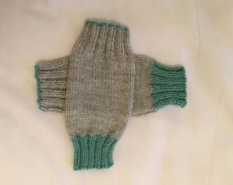 Hand knitted grey fingerless gloves
