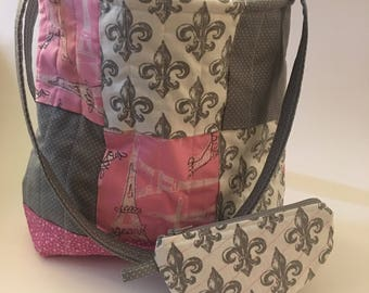 Quilted tote with matching zipper pouch