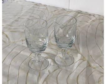 Pair Vintage Clear Wine Glasses, Etched Floral Leaf Pattern, Ornate Stem