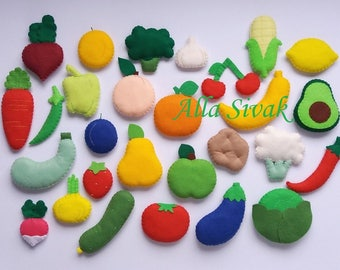 Felt Fruits and Vegetables, Felt food vegetables, Felt fruit set, Felt vegetables, Felt Fruits, Felt Vegetables