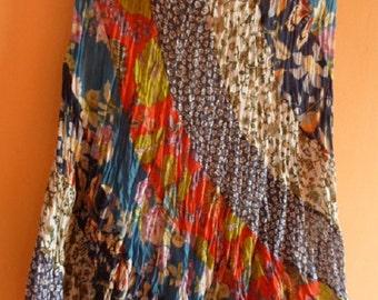 90s vintage colorful floral print summer Boho skirt