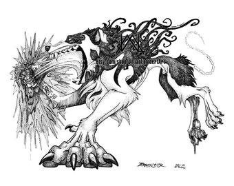 PRINT - Lost It. Can't Get It BACK. - BRAINSICK - original technical pen drawing, body horror, surrealism, dark art