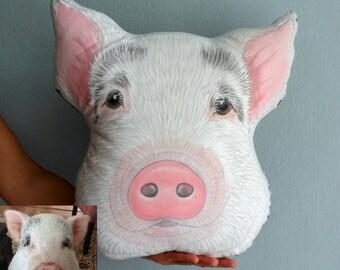 Pig Pillow, Custom Pet Portrait  Pillow -XL SIZE , Personalized  gift for pet lovers, custom pet pillow
