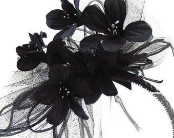 "HAIR Adornment ""Ella"" Fantasy Black Hair Band Flowers, Netting, Headband for Costume, Prom, Dress, Wedding or an Afternoon Tea"