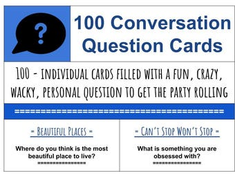 100 Conversation Starter Questions, printable cards, fun family time questions, getting to know you questions, diy gift jar