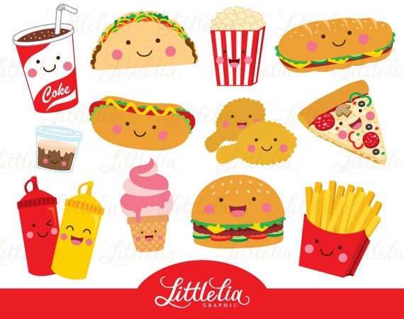 fast food clipart food clipart cute food 15096 rh etsy com fast food clipart black and white fast food restaurant clipart