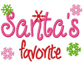 Christmas Embroidery Design Santa's favorite Christmas Digital Instant Download 4x4 and 5x7
