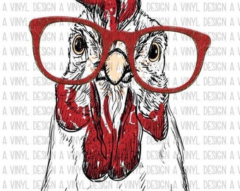 Red Chicken Rooster Glasses Sublimation Ready To Press Transfers