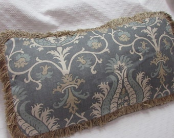 Fringed Pillow wedgewood blue/gray and cream Pillow Cover damask damask design cotton fabric