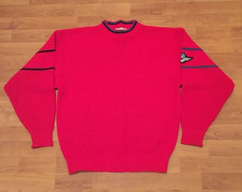 Playback Vintage 1980s Pullover Knitwear Knit Sweater Jumper Red Mens Large 105