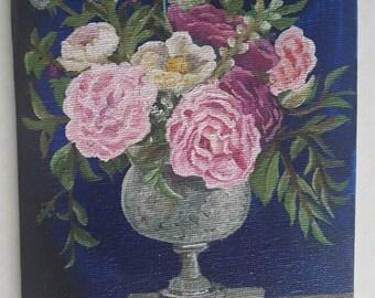 Still Life Flowers on Blue Original Painting 5x7