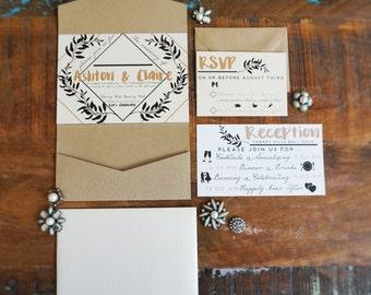 Contemporary, Elegant Wedding Invitation Suite