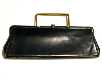 Vintage Navy Clutch with Metal Handles