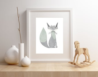 Fox nursery art print,  Giclee Art Print, woodland, archival art print