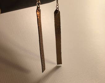 Minimal Geometric Upcycled Leather Earrings