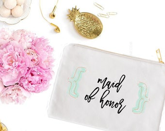 Handwritten Maid of Honor Cosmetic Bag- Cute Makeup Pouch - Swag Bag - Wedding Favor - Bridal Gift