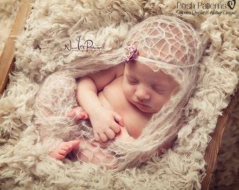 Knitting PATTERN - Knit Blanket Pattern - Flower Headband - Knitting Patterns - Lace Wrap - Knitting Pattern Baby - Photo Prop - PDF 241
