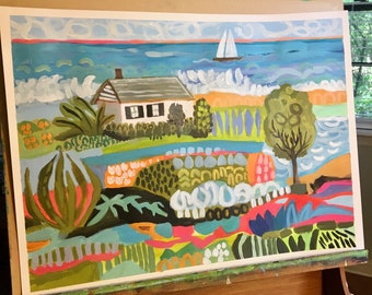 Cottage on the Coast Original Painting on 24x18 Paper by Karen Fields