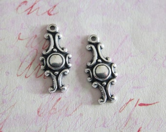 NEW 2 Silver Drop Charms 3729