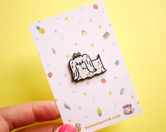 Tiny Puppy with blue bow Hard Enamel Pin