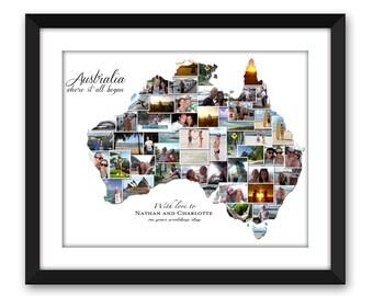Australia Oz Aussie Sydney Melbourne Brisbane Perth Adelaide Wedding Vacation Honeymoon Destination Travel Photo Collage Digital Printable