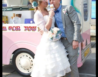 Wedding tulle cover up/white bridal bolero/white /custom color/ tulle jacket /3/4 sleeves/tulle shrug/ wrap/stretchy tulle