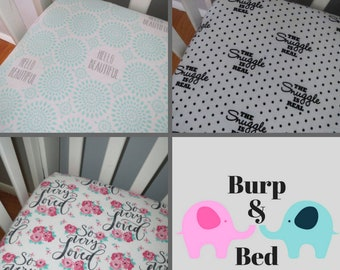 So Much to Say Words and Phrases Flannel Crib Sheets