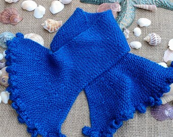 Handmade, Hand Knit, Soft Wool Blend Bobble-edge Accent Scarf, RTS Ready to Ship