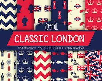 London Digital Paper - CLASSIC LONDON - with british flag london element, big ben, tea, phone booth, chevron, UK pattern for Scrapbooking