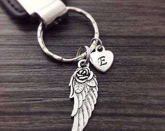 Wing Keychain with Initial Heart, angel wing keychain, personalized keyring, angel lover gift, silver keyring, spiritual symbolic keychain