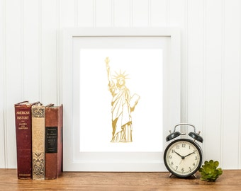 Gold Foil Statue of Liberty (8x10 or 5x7)