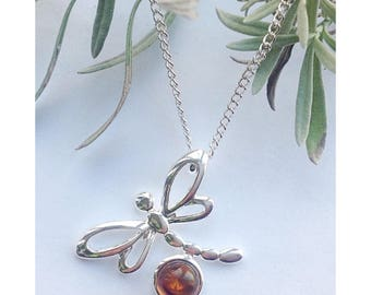 Amber dragonfly necklace, outlander jewelry, amber necklace, gemstone necklace, Mother's Day gift, dragonfly necklace
