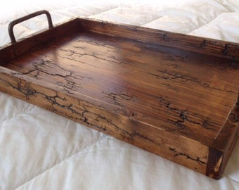 Rustic Reclaimed Wood Serving Tray-Lichtenberg Figure-Fractal