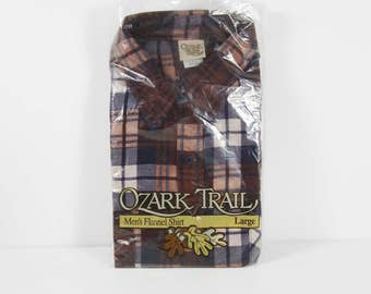 Vintage NOS Flannel Shirt Brown Blue Plaid Long Sleeve Made in USA - Size Large