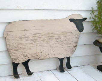 Wooden Sheep Black Face Sheep Mutton Wood Sheep Farmhouse Decor Gift for Knitter Mother's Day Gift