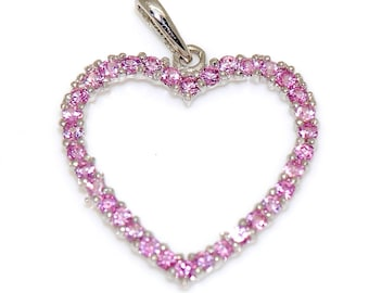 14K Solid White Gold Love & Heart Pink Cubic Zirconia Charm Pendant 17mm
