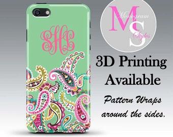 Monogram iPhone 6 Case Personalized Phone Case Tutti Frutti Green Monogrammed iPhone Case iPhone 4, 4S, iPhone 5, 5S, 5C iPhone 6 Plus #2180
